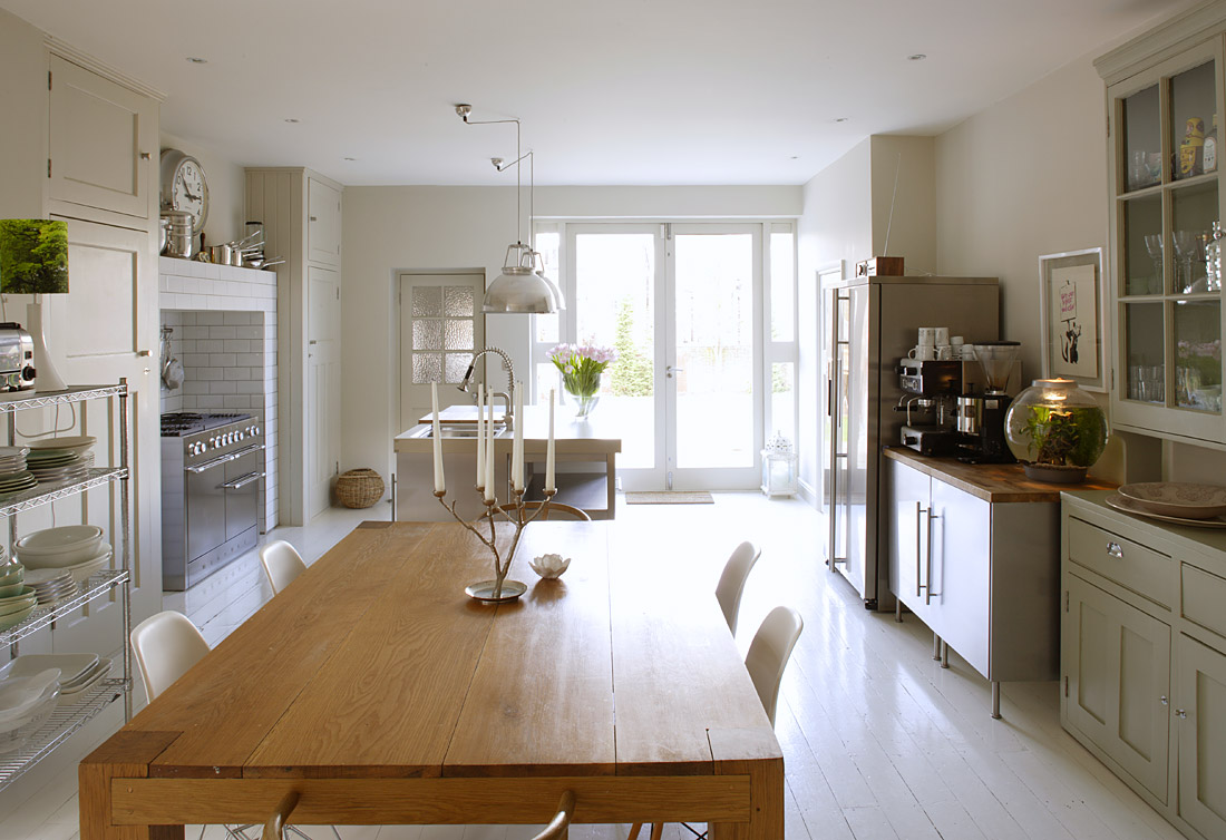 White Kitchen Wooden Floor Wood Floors Painted White Bleue Piace