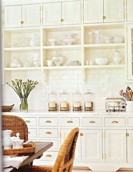 Shaker cabinets with brass hardware