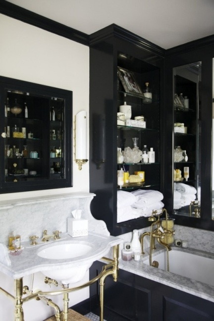 Traditional bathroom with brass hardware